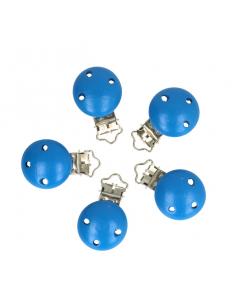Wood pacifier clip royal blue