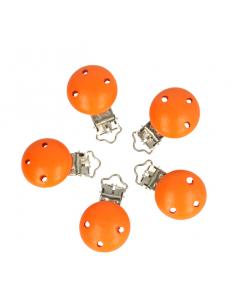Wood pacifier clip orange
